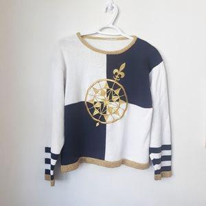 Vintage Nautical Blue, White & Gold Sweater